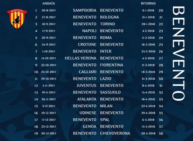 Calendario Serie A TIM - Benevento Calcio