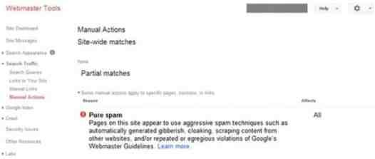 عقوبة جوجل نتيجة محتوى سبام آلي
