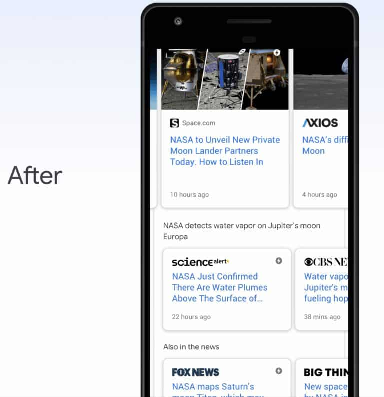 تستخدم جوجل الآن خوارزمية BERT، إلى جانب تقنيات التعلم الآلي الأخرى، لتجميع المقالات الإخبارية ذات الصلة معًا في مجموعات.