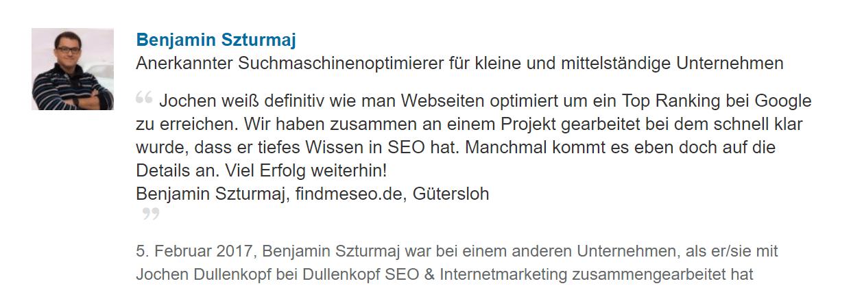 Dullenkopf Internet marketing und SEo Empfehlung von benjamin S.