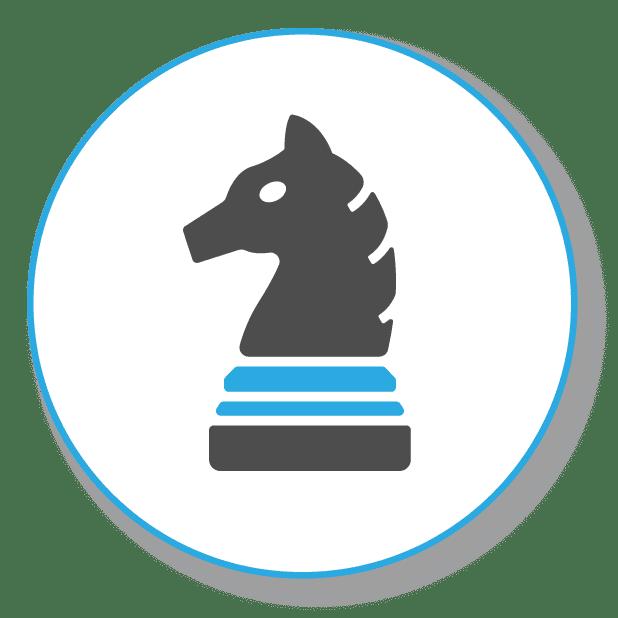 Gezeiogt wird eine Schachfigur, als Symbol für strategische SEO Arbeit
