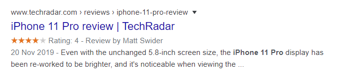product review rich snippet