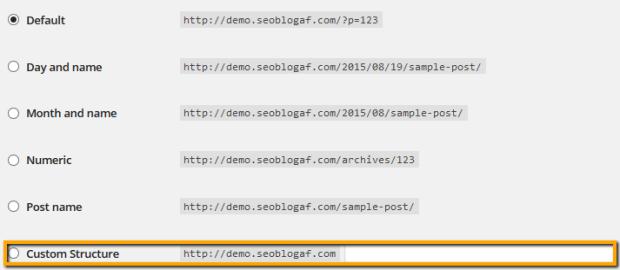 Custom structure permalink wordpress