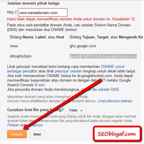 Simpan perubahan domain blogspot com