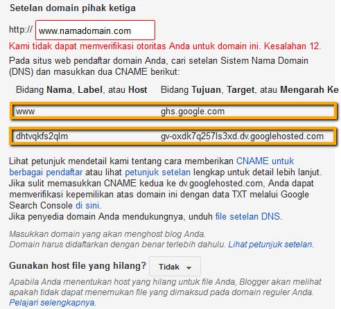 kode blogspot untuk namecheap