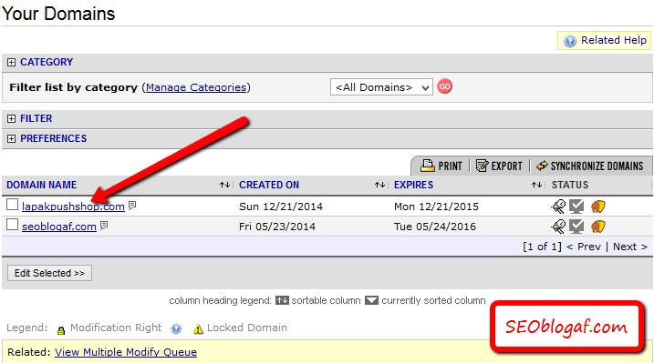 pilih domain yang ingin dirubah