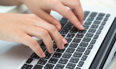 a person typing