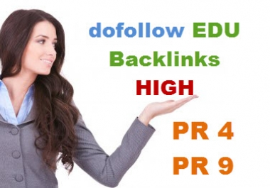 create 20 dofollow backlinks from EDU sites with high pr 4 to pr 9 in root domain