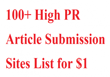 100+ High PR Article Submission Sites List