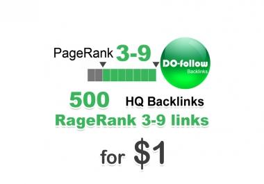 500 do-follow PR 3-9 backlinks