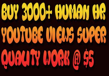 Buy 3000+ Human HR YouTube Views Super Quality work