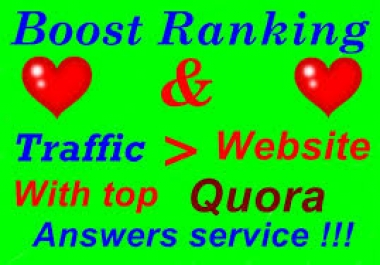Monthly Quora promotion by website/business relevant Quora Answer with clickable Backlinks and target traffic