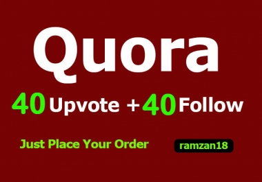 Provide you 40 Quora followers 40 upvotes within few hours