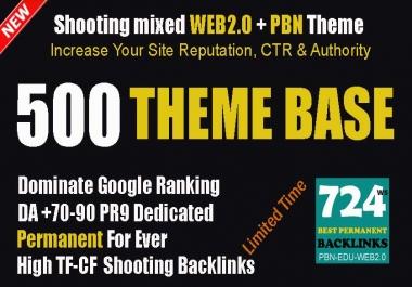 Theme Base Link Pyramid 500 Powerful Compact Shooting Backlinks Mixed WEB2.0+PBN NEW