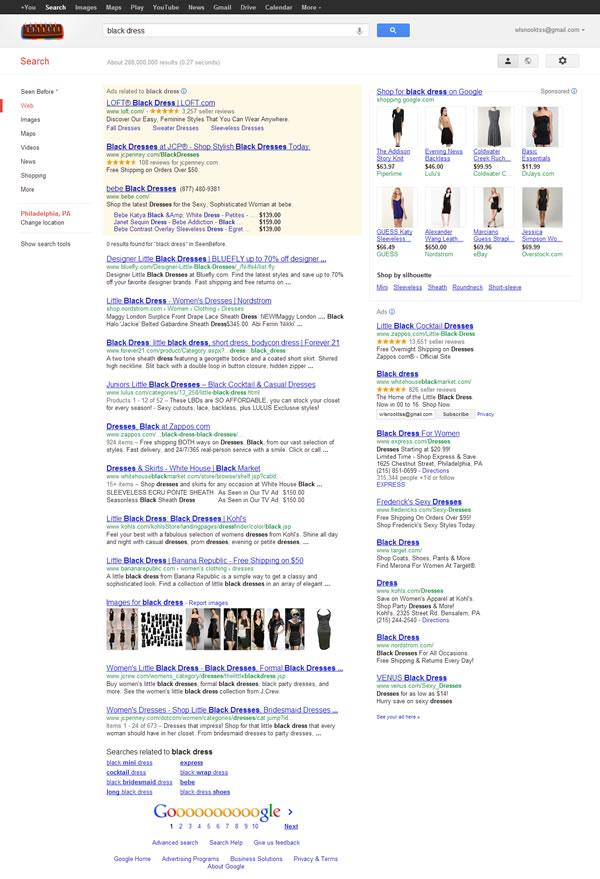 Google SERP for Black Dress 092712