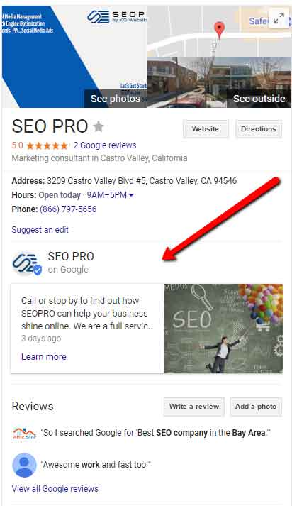google my business google posts use for your bay area business online marketing seo