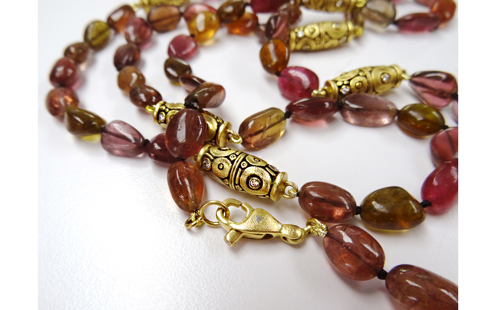 "Red tourmaline necklace with Šepkus ""Orchard"" beads and lobster clasp"