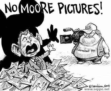 Bush, Michael Moore and Fahrenheit 9/11, cartoon