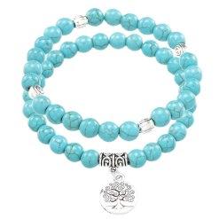 Bracelet Double Arbre de Vie en Pierres Turquoises
