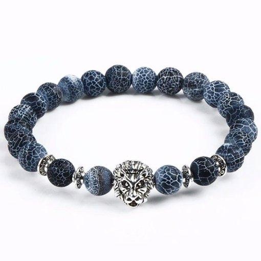 Bracelet Homme Perle Lion bleu argent