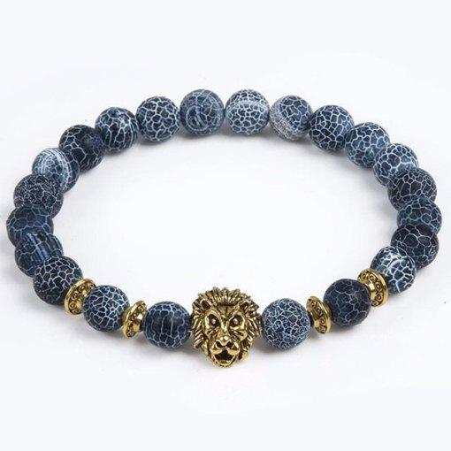 Bracelet Homme Perle Lion Bleu or