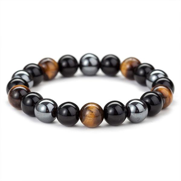 Bracelet oeil de Tigre hématite Obsidienne Triple Protection