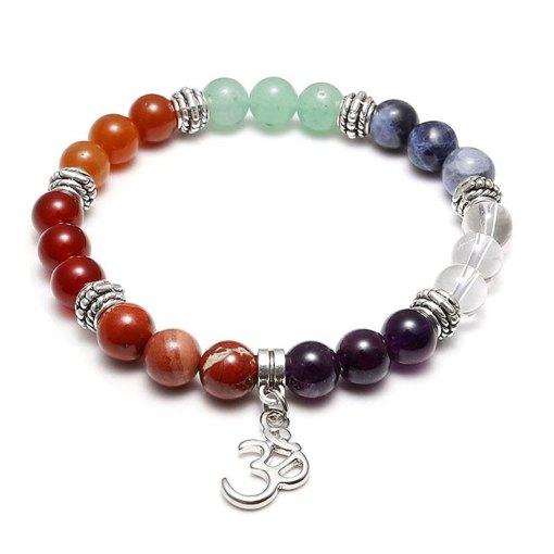 bracelet 7 chakras pierres naturelles aum