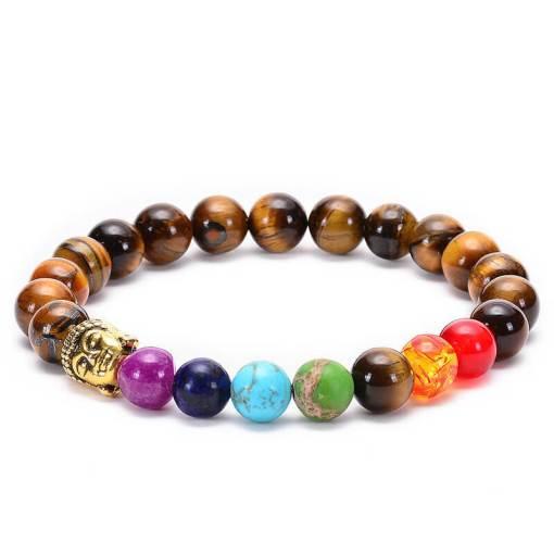 Bracelet 7 Chakras Bouddha en Oeil de Tigre OR