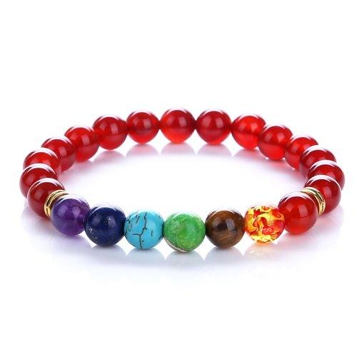 Bracelet equilibre 7 Chakras en agate rouge