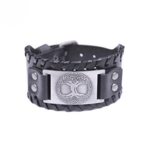Bracelet Manchette Arbre de Vie Odin noir argent