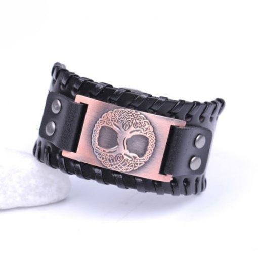Bracelet Manchette Arbre de Vie Odin noir bronze