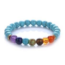 bracelet guerison 7 chakras en turquoise bleu