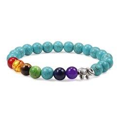 Bracelet Tibétain 7 Chakras en Turquoise Bleu