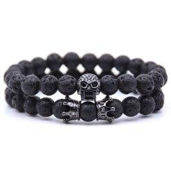 Bracelet Homme Perle Tete de Mort Noir