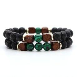 Bracelet Homme Perle Verte Malachite
