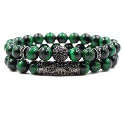 Bracelet Oeil de Tigre Vert Odin