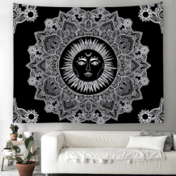 Tenture Murale Mandala Noir et Blanc Soleil