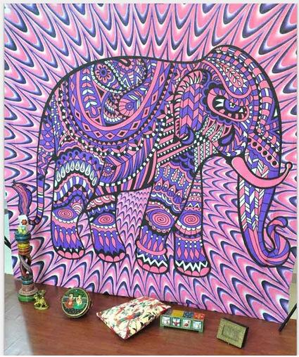 Tenture Éléphant Psychédélique
