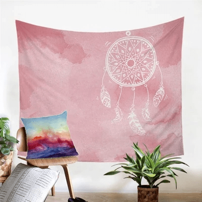 Tenture Murale Rose Dreamcatcher