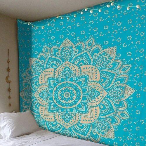 grande tenture murale bleue