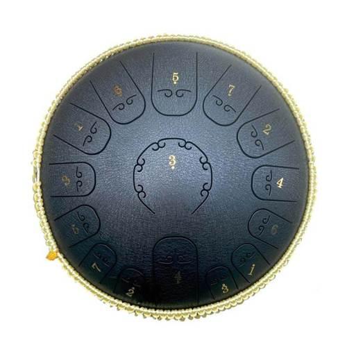 Tambour à langue en acier noir - Sept Chakras