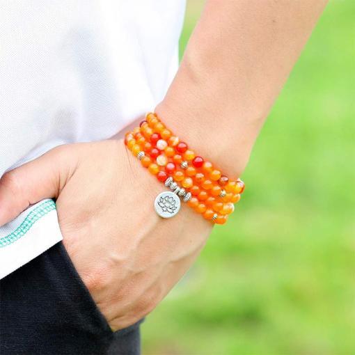 Bracelet Mala Tibétain Onyx Orange - Mala Tibétain - Sept Chakras