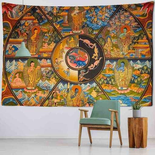 Tenture murale ancienne - Décoration zen - sept chakras