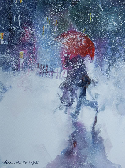 Snowstorm Walking In Snow With Red Umbrella Painting