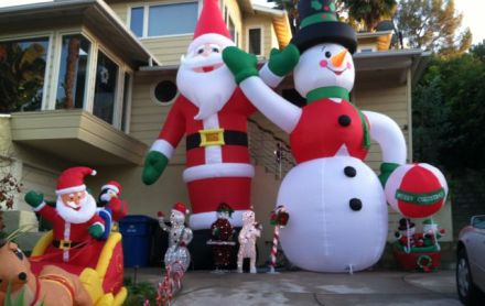 Very serious Christmas decorations. A huge air pump kept the figures inflated.
