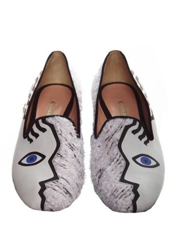 Witty flats by Nicholas Kirkwood inspired by Picasso's Cubism.