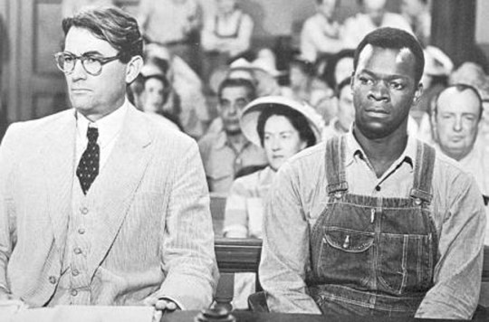 Gregory Peck as Atticus Finch and Brock Peters as Tom Robinson in To Kill a Mockingbird, 1962.