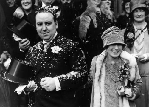Alfred Hitchcock and Alma Reville get married, 1926.