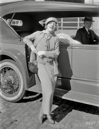 """Silent star Mae Murray b. Marie Adrienne Koenig (1885 - 1965)  with her Dusenberg, 1925. Murray's best role was in Erich von Stroheim's """"The Wedding March,"""" 1925, opposite John Gilbert. Sadly, Murray was bi-polar and in her later years wandered the streets of New York telling astonished passerbys that she used to be a great star."""