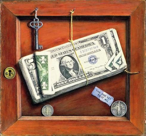 "Otis Kaye (1885–1974) is best known for his trompe l'oeil paintings in which U.S. currency is featured. This, perhaps his best known work, is titled ""The One Key to it All"". You will not be surprised to learn that Kaye lost all his money in the stock market crash of 1929. The WSJ recently published a fine article about a survey of his work."